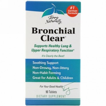 Terry Naturally, Terry Naturally、 Bronchial Clear、タブレット 90錠