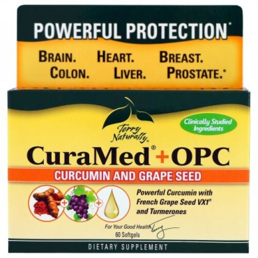 Terry Naturally, CuraMed + OPC、クルクミン&グレープシード、ソフトジェル60粒 (Discontinued Item)