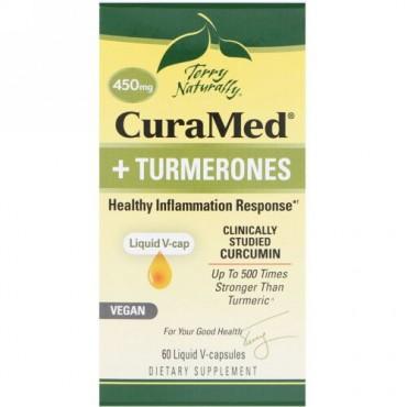 Terry Naturally, CuraMed + Turmerones, 450 mg, 60 Liquid V-Capsules (Discontinued Item)