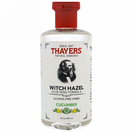 Thayers, ウィッチヘーゼル、アルコールフリートナー、アロエベラフォーミュラ、キューカンバー、12 fl oz (355 ml) (Discontinued Item)
