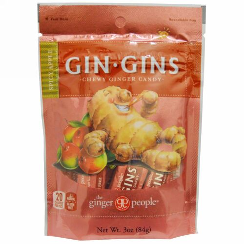 The Ginger People, Gin·Gins、チュイジージンジャーキャンディー、スパイシーアップル、 3 oz (84 g)