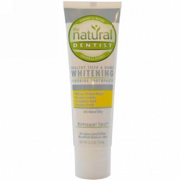 The Natural Dentist, ヘルシー・ティース &ガム、フッ素化物ホワイトニング歯磨き粉、 Peppermint Twist、 5.0 オンス (142 g) (Discontinued Item)