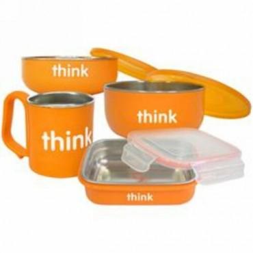 Think, コンプリート BPAフリー・フィーディングセット、 オレンジ、1組