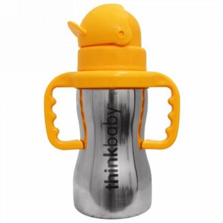 Think, Thinkbaby, Thinkster of Steel Bottle, Orange, 1 Straw Bottle, 10 oz (290 ml)