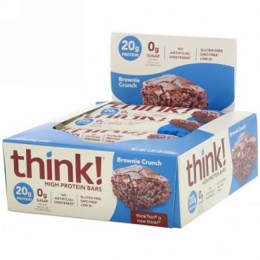 ThinkThin, ハイプロテインバー、ブラウニークランチ、10本、各60 g(2.1 oz)