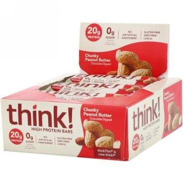 ThinkThin, ハイプロテインバー、チャンキーピーナッツバター、10本、各 2.1 oz (60 g)