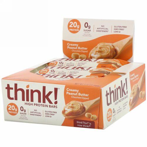 ThinkThin, ハイプロテインバー、クリーミーピーナッツバター、10個、各2.1オンス (60 g)