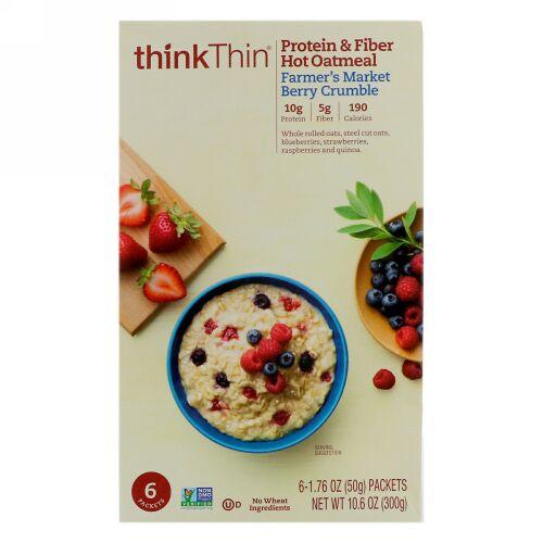 ThinkThin, タンパク質・繊維ホットオートミール、ファーマーズマーケット・ベリークランブル、6袋、各1.76 oz (50g ) (Discontinued Item)