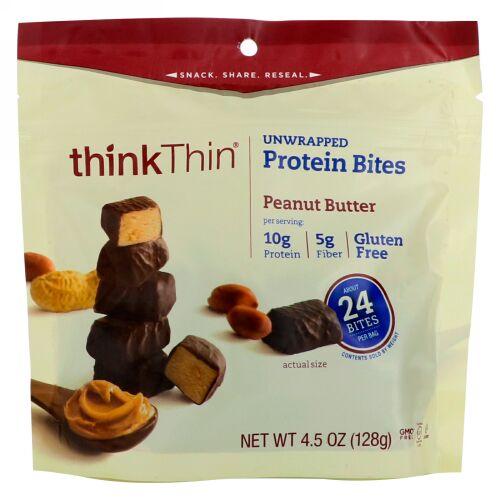 ThinkThin, アンラップド・プロテインバイト、ピーナッツバター、4.5 oz (128 g) (Discontinued Item)