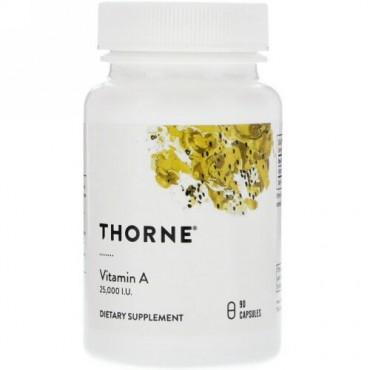 Thorne Research, ビタミンA、25,000 IU、カプセル90粒 (Discontinued Item)