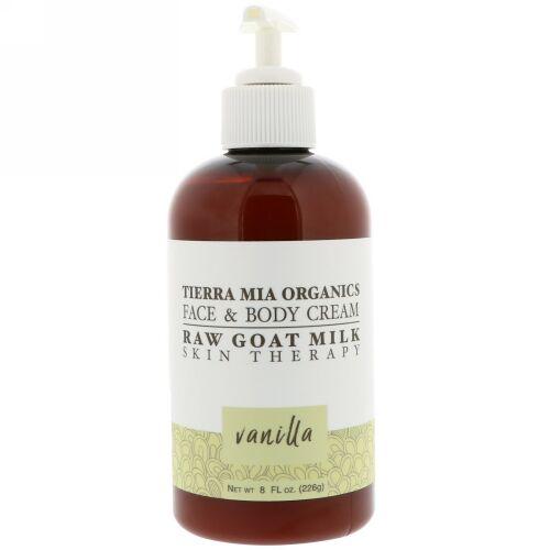 Tierra Mia Organics, 未加工ヤギミルクスキンセラピー、フェイス&ボディクリーム、バニラ、8 fl oz (226 g) (Discontinued Item)