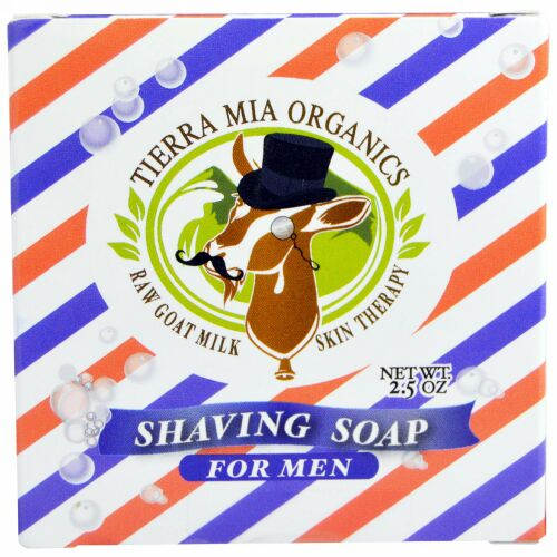 Tierra Mia Organics, ヤギの生ミルクのスキンセラピー, 男性用シェービング石鹸, 2.5 オンス (Discontinued Item)