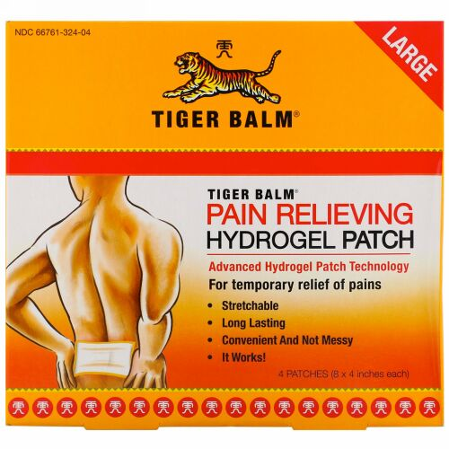 Tiger Balm, 鎮痛貼り薬(Pain Relieving Patch), 大サイズ, 4パッチ(各8 x 4 iインチ)