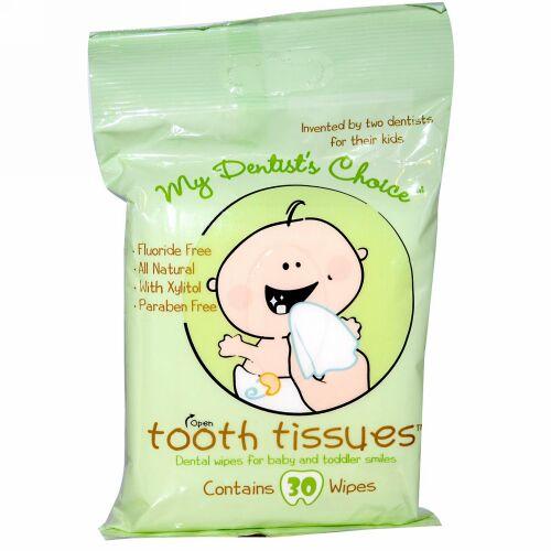 Tooth Tissues, 歯医者さんオススメ、赤ちゃん、幼児用スマイル歯みがきティッシュ、30 枚