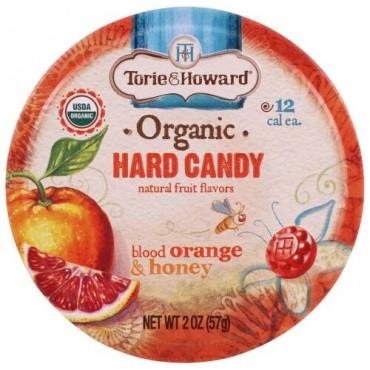 Torie & Howard, オーガニック、ハードキャンディー、ブラッドオレンジ&ハニー、2 oz (57 g)