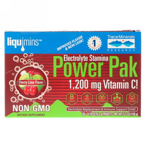 Trace Minerals Research, Electrolyte Stamina PowerPak, Cherry Lime, 30 Packets, 0.18 oz (5.2 g) Each (Discontinued Item)