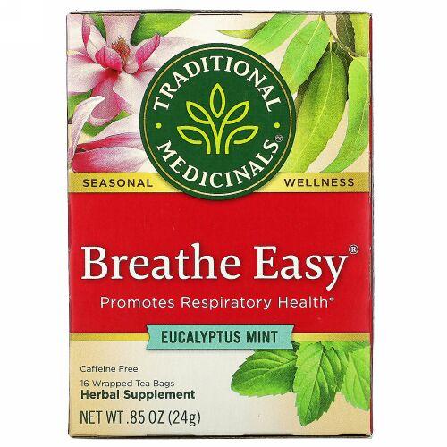 Traditional Medicinals, Breathe Easy(ブリーズイージー)、ユーカリミント、カフェインフリー、個包装ティーバッグ16袋、24g(0.85オンス)