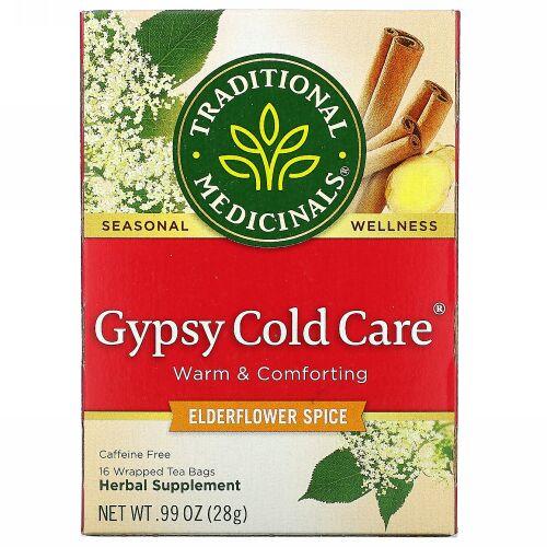 Traditional Medicinals, Gypsy Cold Care(ジプシーコールドケア)、エルダーフラワースパイス、カフェインフリー、個包装ティーバッグ16袋、28g(0.99オンス)