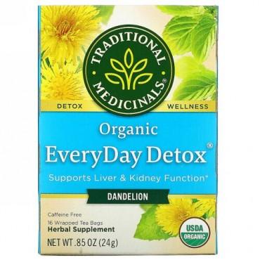 Traditional Medicinals, オーガニックEveryDay Detox(エブリデイデトックス)、タンポポ、カフェインフリー、個包装ティーバッグ16袋、24g(0.85オンス)