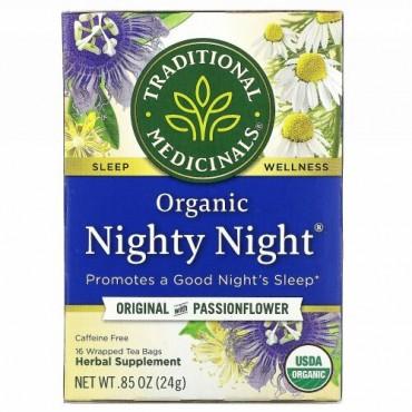 Traditional Medicinals, オーガニックNighty Night(ナイティーナイト)、パッションフラワー入りオリジナル、カフェインフリー、個包装ティーバッグ16袋、24g(0.85オンス)