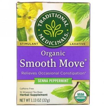 Traditional Medicinals, オーガニックSmooth Move(スムーズムーブ)、センナペパーミント、カフェインフリー、個包装ティーバッグ16袋、32g(1.13オンス)