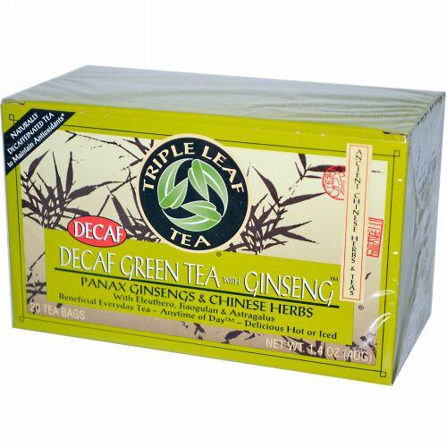 Triple Leaf Tea, ジンセン入りカフェインレスグリーンティー、20ティーバッグ 1.4 oz (40 g) Each (Discontinued Item)