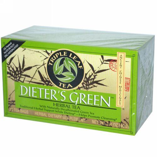 Triple Leaf Tea, ダイエットする人のグリーン, ハーブティー, カフェイン抜き, 20ティーバッグ, 1.4オンス (40 g) (Discontinued Item)