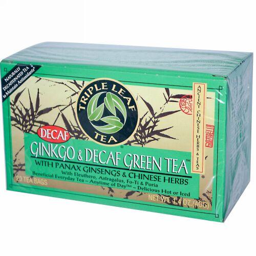 Triple Leaf Tea, ギンコ(イチョウ) & カフェインレス グリーンティー、20ティーバッグ、1.4 oz (40 g) (Discontinued Item)