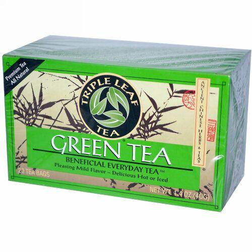 Triple Leaf Tea, グリーンティー、20 ティーバッグ、1.4 oz (40 g) (Discontinued Item)