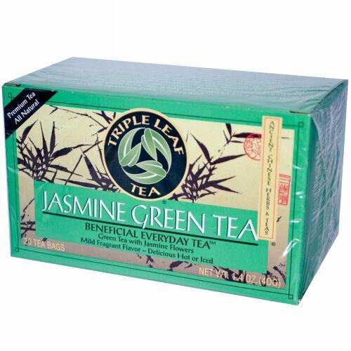 Triple Leaf Tea, ジャスミングリーンティー、20ティーバッグ、1.4 oz (40 g) (Discontinued Item)