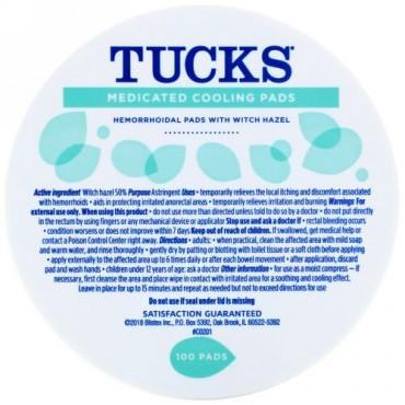Tucks, 薬用クーリングパッド、100パッド
