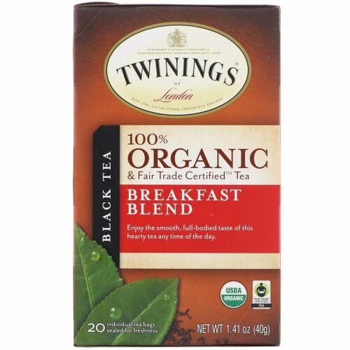 Twinings, 100%オーガニック・ブラックティー、ブレックファーストブレンド、ティーバッグ20個、1.41 オンス(40 g)