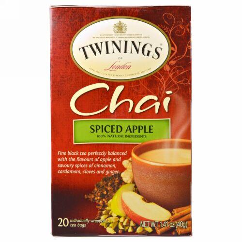 Twinings, チャイ, スパイスアップル, 20袋, 各1.41オンス (40 g) (Discontinued Item)