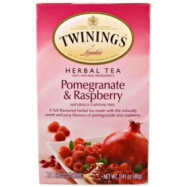 Twinings, ハーブティー, ザクロ と ラズベリー, カフェイン無し, 20 ティーバッグ, 各1.41 オンス (40 g)