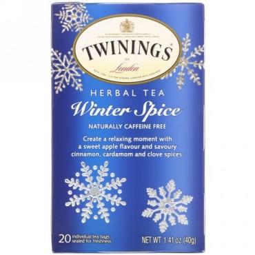 Twinings, ハーブティー、ウィンタースパイス、ノンカフェイン、ティーバッグ20個、40 g(1.41 oz)