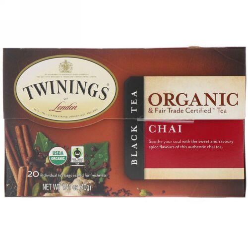 Twinings, Organic Black Tea, Chai, 20 Tea Bags, 1.41 oz (40 g) (Discontinued Item)