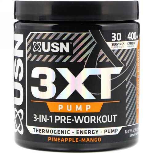 USN, 3XT- Pump, 3-In-1 Pre-Workout, Pineapple-Mango, 6.56 oz (186 g) (Discontinued Item)