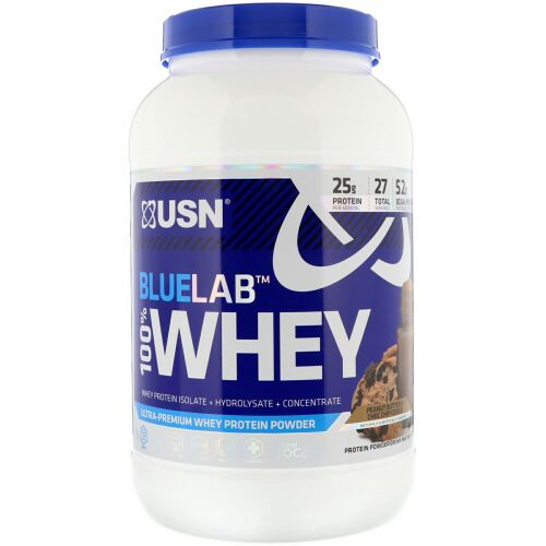 USN, BlueLab, 100% Whey, Peanut Butter & Choc Chip Cookie, 2 lbs (907.2 g) (Discontinued Item)