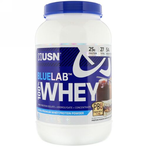 USN, BlueLab, 100% Whey, Peanut Butter & Jelly, 2 lbs (907.2 g) (Discontinued Item)