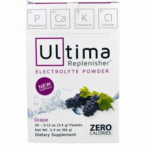 Ultima Replenisher, アルティマ補充電解質パウダー、ブドウ、20袋、0.12オンス(3.4 g) (Discontinued Item)