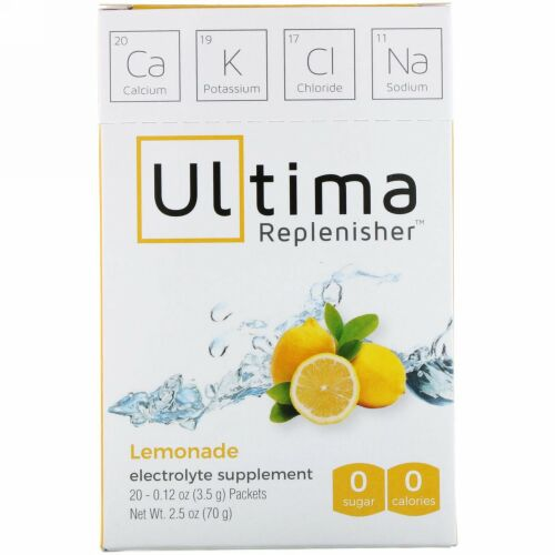 Ultima Replenisher, アルティマ補充電解液パウダー、レモネード、20袋、0.12オンス(3.5g)