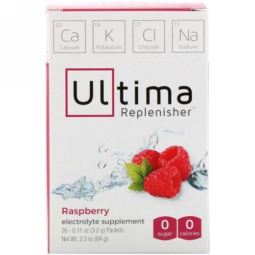 Ultima Replenisher, エレクトロライトサプリメント、ラズベリー、20袋、各3.2 g