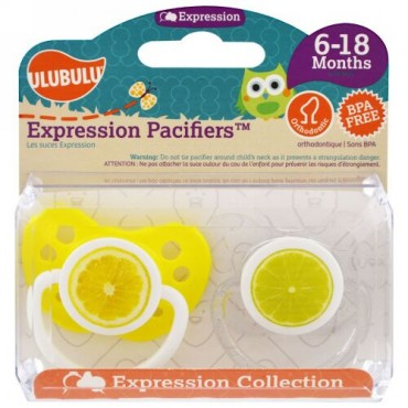 Ulubulu, エクスプレッション・パシファイア(おしゃぶり)、生後6〜18カ月、 レモン&ライム、おしゃぶり2 個入り (Discontinued Item)