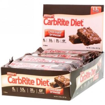 Universal Nutrition, ドクターズCarbRite Diet(カーブライトダイエット)バー、チョコレートブラウニー、12本、各56.7g(2オンス)