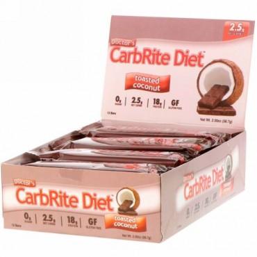 Universal Nutrition, ドクターズCarbRite Diet(カーブライトダイエット)バー、トーストココナッツ、12本、各56.7g(2オンス)