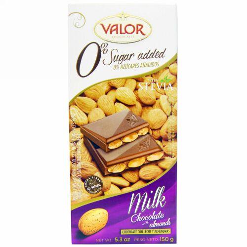 Valor, 糖分0%、アーモンド入りミルクチョコレート、5.3オンス( 150g ) (Discontinued Item)