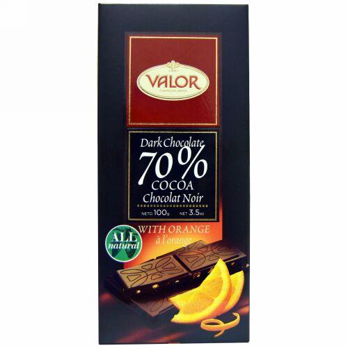 Valor, ダークチョコレート、 70% カカオ、 オレンジ入り、 3.5 オンス (100 g) (Discontinued Item)
