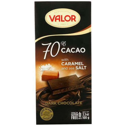 Valor, Dark Chocolate, 70% Cacao, With Caramel and Sea Salt, 3.5 oz (100 g) (Discontinued Item)