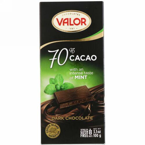 Valor, ダークチョコレート、 70% カカオ、 ミント入り、 3.5 オンス (100 g) (Discontinued Item)