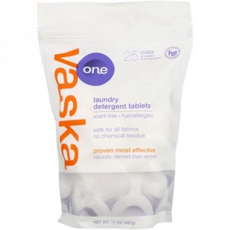 Vaska, One, Laundry Detergent Tablets, Scent Free, 25 Loads, 17 oz (482 g) (Discontinued Item)